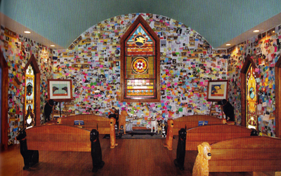 Dog Chapel walls filled with notes and remembrances
