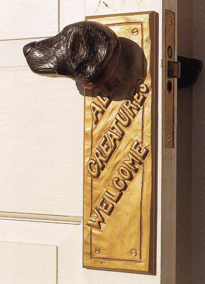 Dog Chapel dog head door knob