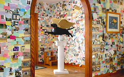 Dog Chapel foyer filled with remembrances