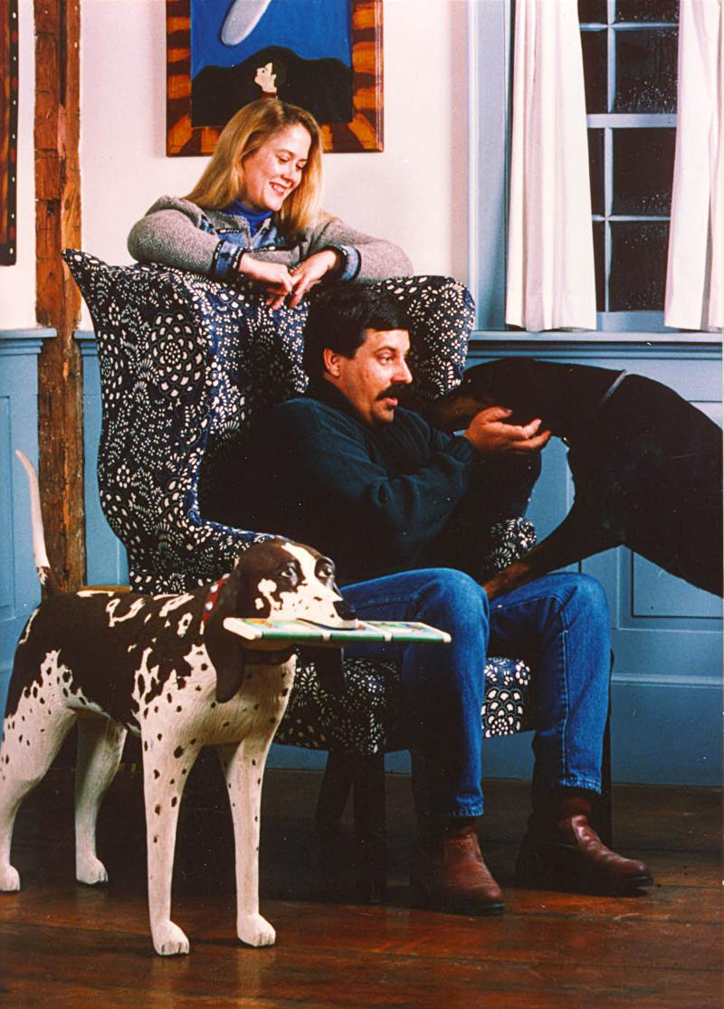 Stephen and Gwen Huneck in their home