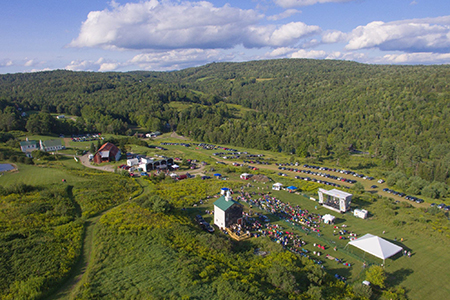 Aerial view of Dog Mountain during summer concert