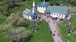 Aerial shot of The Dog Chapel and Stephen Huneck Gallery