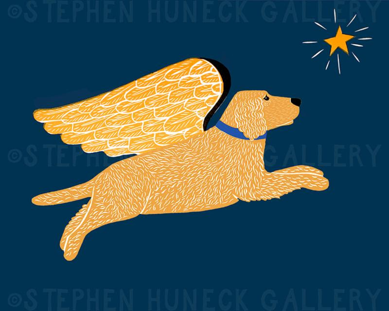 Golden Retriever Angel Dog Dreaming Print