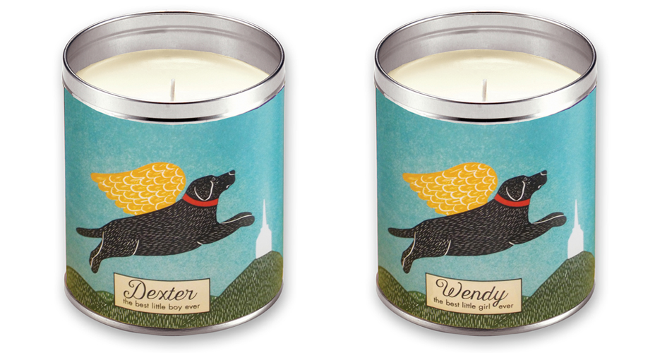 Angel Dog Personalized Memorial Candle