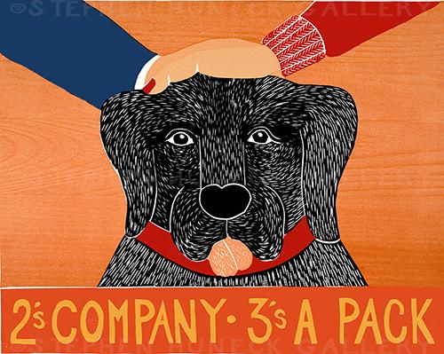 2's Company 3's a Pack - Original Woodcut