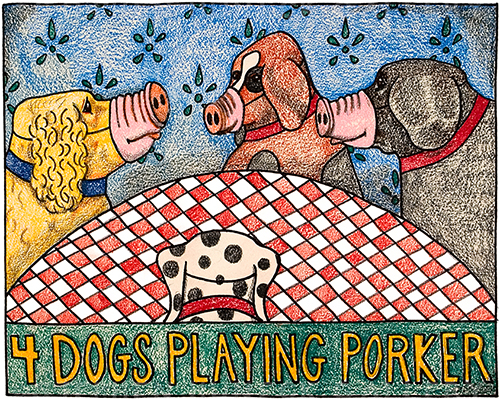 4 Dogs Playing Porker - Crayon Print