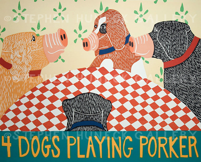 4 Dogs Playing Porker - Woodcut