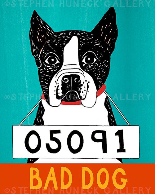 Bad Dog-Boston Terrier - Giclee Print