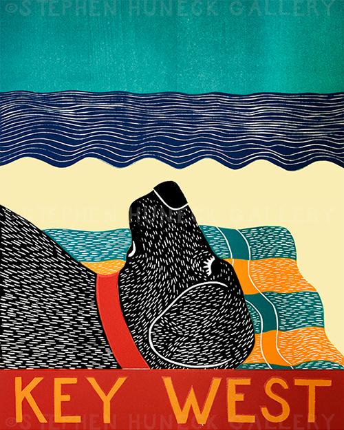 Beach Dog-Key West - Original Woodcut