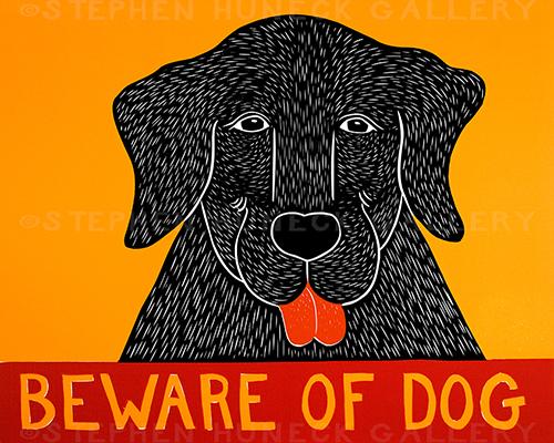Beware of Dog - Original Woodcut