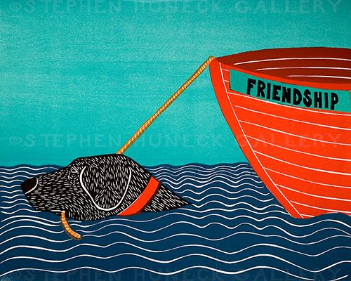 Boat-Friendship - Original Woodcut