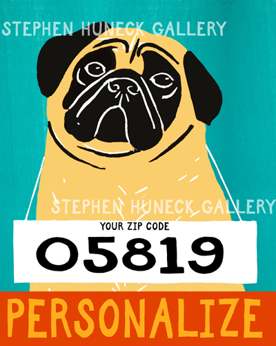 Bad Dog-Fawn Pug - Customizable Giclee