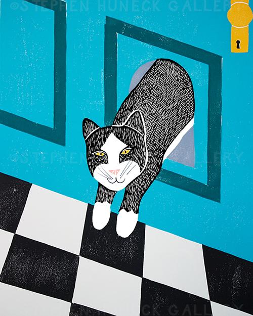 Cat Door - Original Woodcut