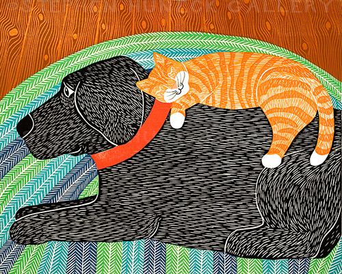Catnap - Original Woodcut