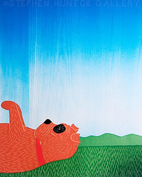 Day Dreaming-Bulldog - Original Woodcut