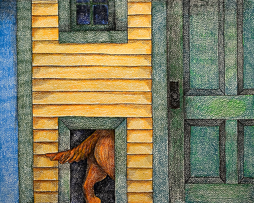 Dog Door - Crayon Print