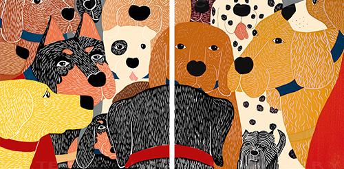 Dog Meeting - Diptych Print