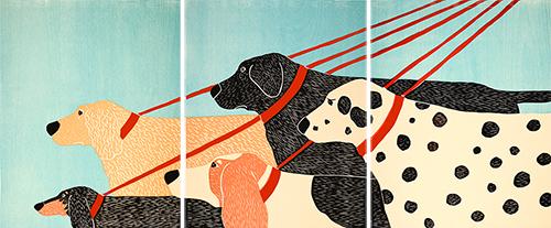 Dog Walker - Triptych Print