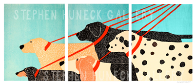 Dog Walker - Triptych Woodcut