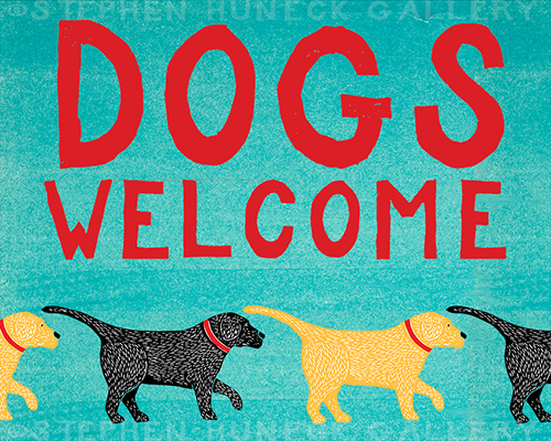 Dogs Welcome-Black & Yellow - Giclee Print