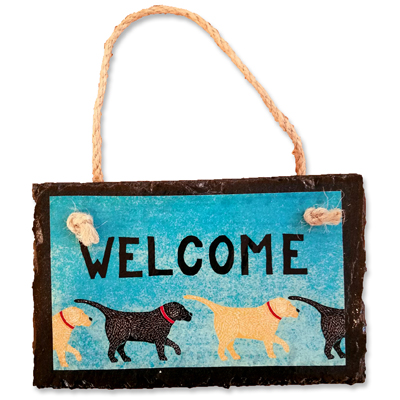 Dogs Welcome - Slate Wall Plaque