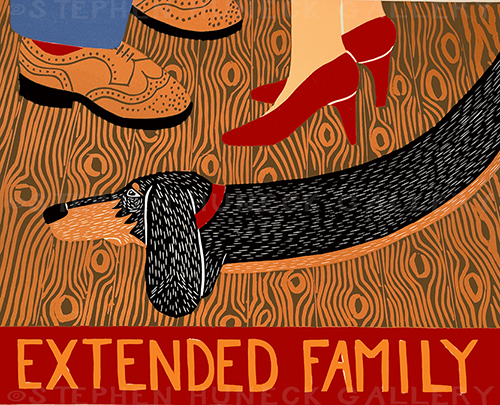 Extended Family - Original Woodcut