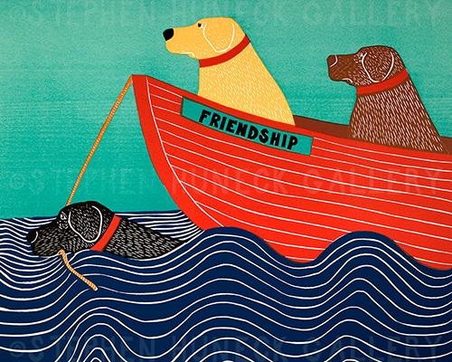 Friendship - Original Woodcut