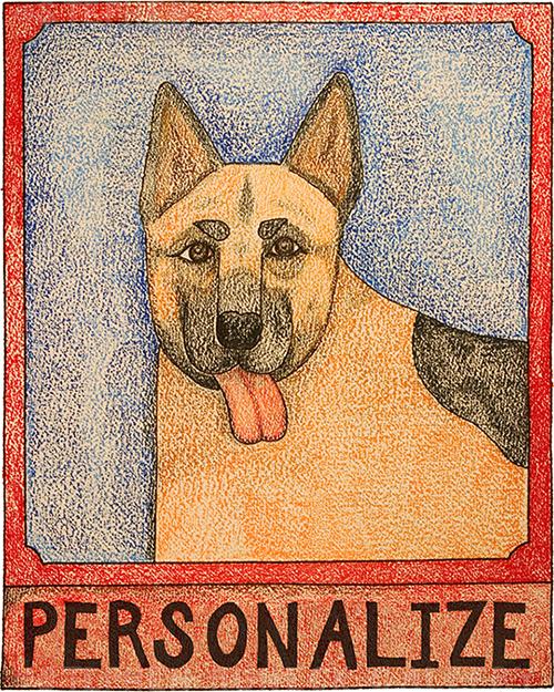 German Shepherd - Customizable Crayon Print