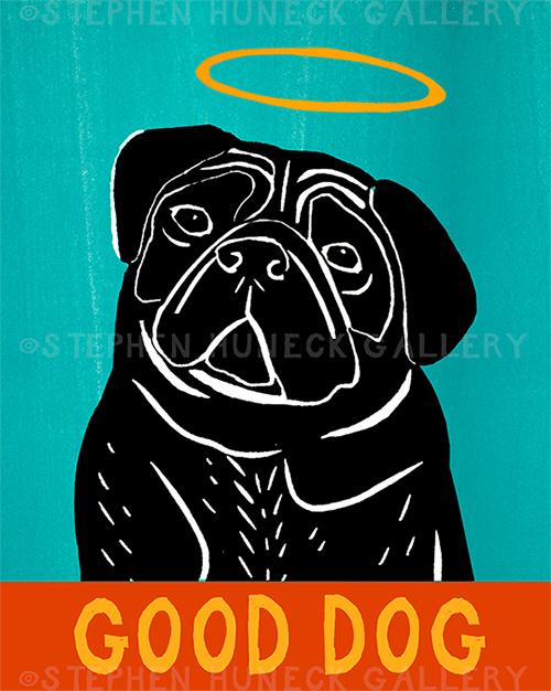 Good Dog-Black Pug - Giclee Print