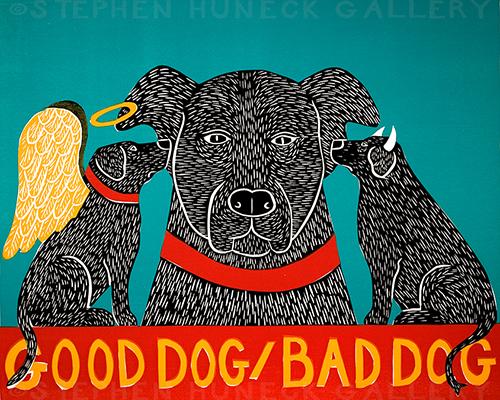 Good Dog/Bad Dog - Original Woodcut