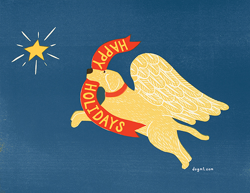 Happy Holidays-Angel Dog - 10 Flat Card Set