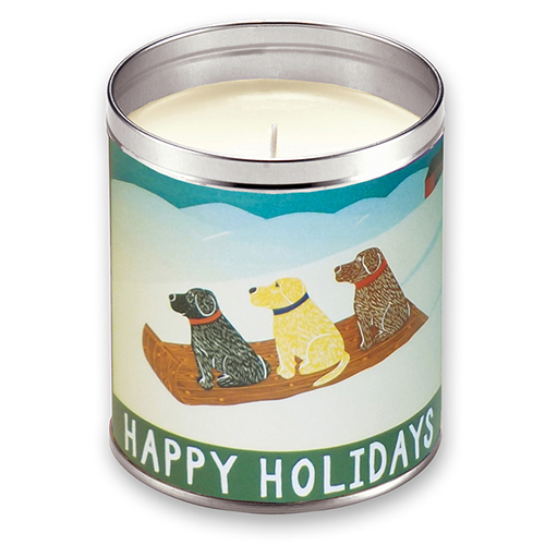 Happy Holidays Sled Dogs - Candle