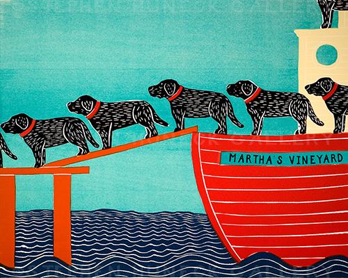 Island Ferry-Martha's Vineyard - Original Woodcut