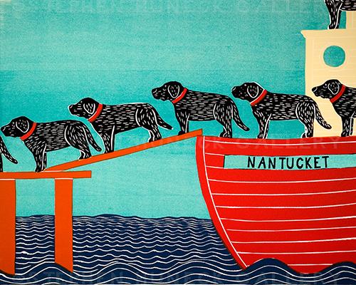 Island Ferry-Nantucket - Original Woodcut