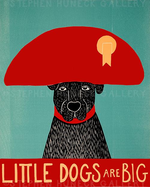 Little Dogs Are Big - Original Woodcut
