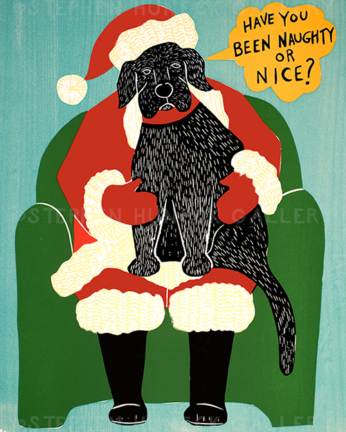 Have You Been Naughty or Nice? - Original Woodcut