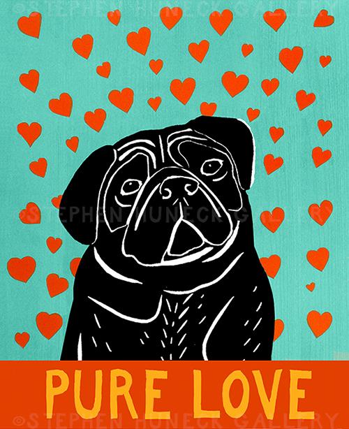 Pure Love-Black Pug - Giclee Print