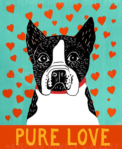 Pure Love-Boston Terrier - Giclee Print