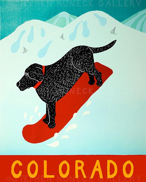 Snowboard-Colorado - Giclee Print