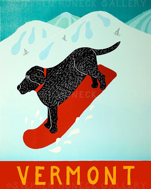 Snowboard-Vermont - Giclee Print