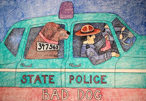 State Police-Bad Dog - Crayon Print