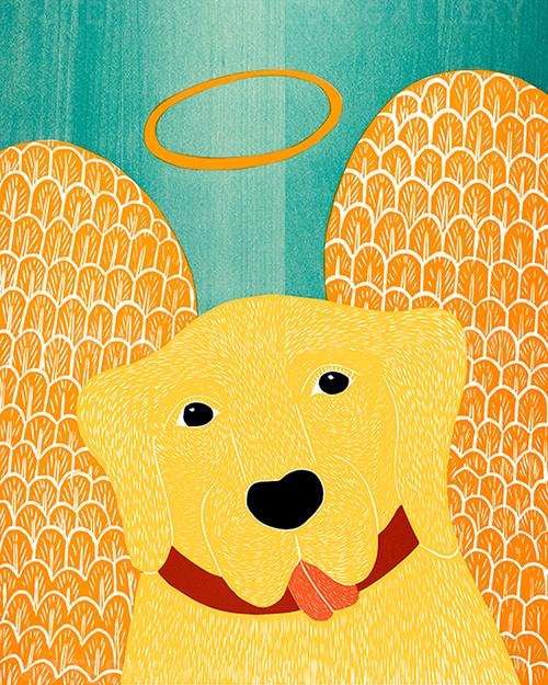 Angel Dog - Original Woodcut