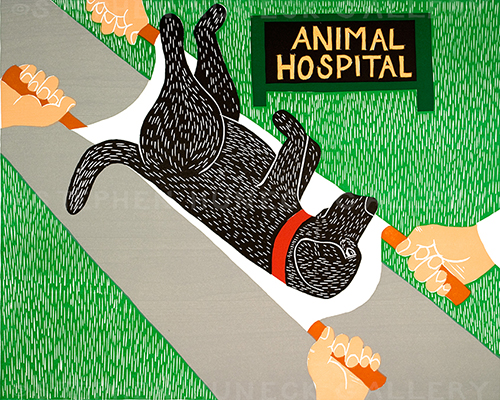 Animal Hospital - Original Woodcut
