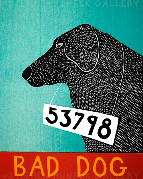 Bad Dog 53798 - Original Woodcut