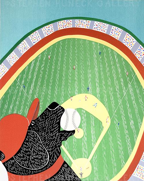 Ball Park - Original Woodcut