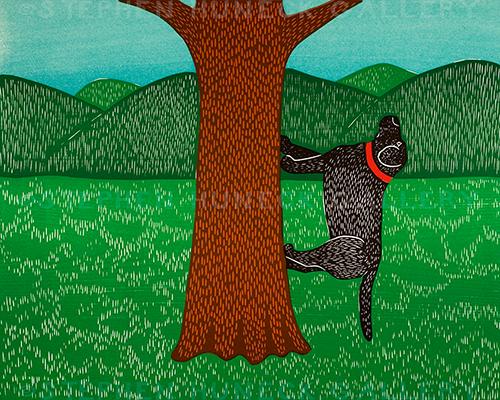 I Climb Up a Tree - Original Woodcut