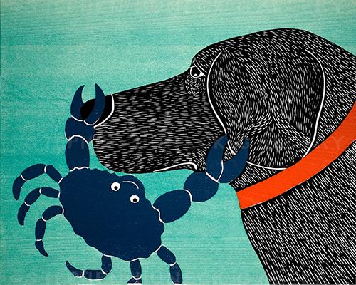 Crab-Blue - Original Woodcut