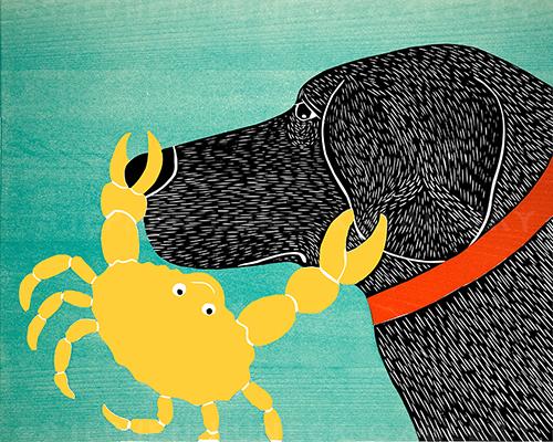 Crab-Yellow - Original Woodcut