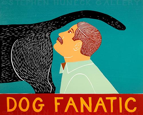 Dog Fanatic - Original Woodcut
