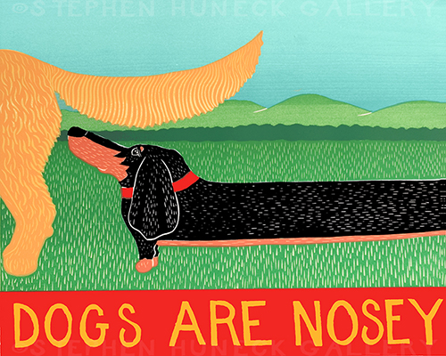 Dogs Are Nosey - Original Woodcut